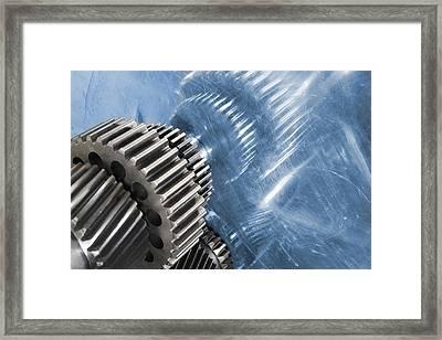 Gears Industrial Engineering In Blue Framed Print