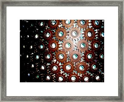 Gears Framed Print by Sara Graham