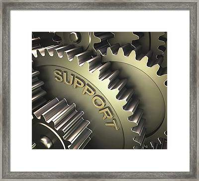 Gears With The Word 'support' Framed Print by Ktsdesign