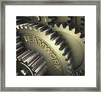 Gears With The Word 'teamwork' Framed Print by Ktsdesign