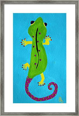Framed Print featuring the painting Gecko Gecko by Deborah Boyd