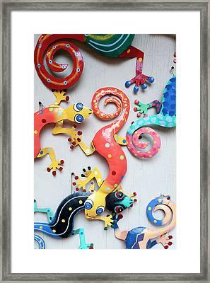 Gecko Wall Hanging Display At Market Framed Print by Daisy Gilardini