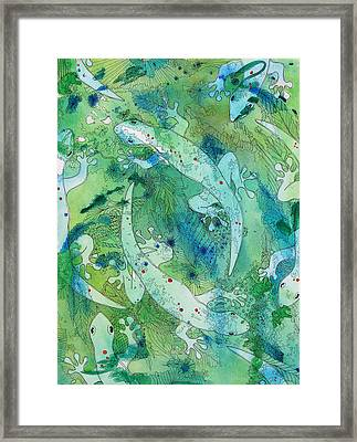 Geckos At Play Framed Print