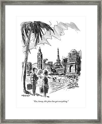 Gee, Honey, This Place Has Got Everything Framed Print by James Stevenson