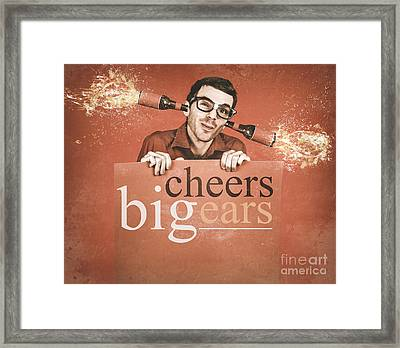 Geek Holding Blank Banner With Exploding Ear Beers Framed Print