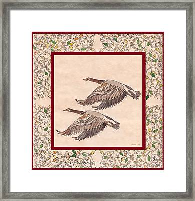 Framed Print featuring the drawing Geese by Dianne Levy