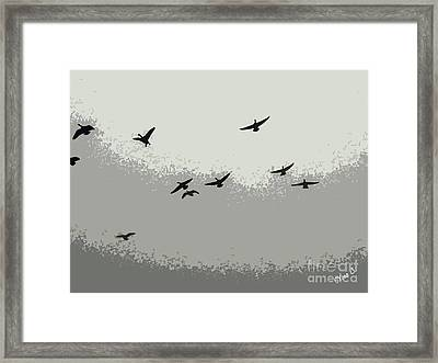 Framed Print featuring the photograph Geese In Sillouehette by Nina Silver