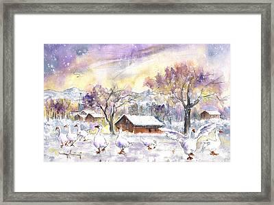 Geese In Winter In Germany Framed Print by Miki De Goodaboom