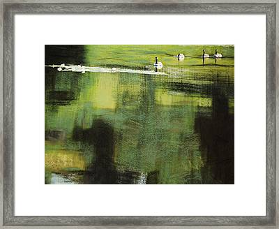 Geese On Pond Framed Print by Andy Mars