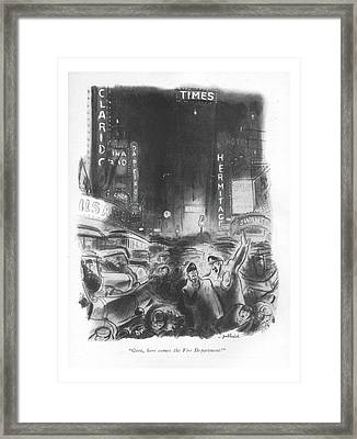 Geez, Here Comes The Fire Department! Framed Print by William Galbraith Crawford