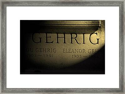Gehrig   Lou Gehrig  Framed Print by Iconic Images Art Gallery David Pucciarelli