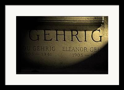Lou Gehrig Grave Marker Framed Prints
