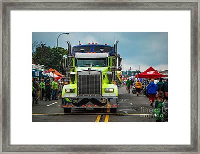Geico Truck Straight On Framed Print by Grace Grogan