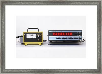 Geiger Counters With Digital Display Framed Print
