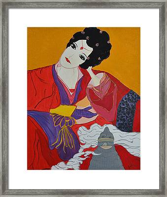 Framed Print featuring the painting Geisha 2 by Judi Goodwin