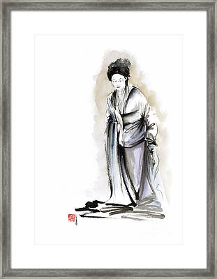 Geisha Classical Figure Kimono Woman Wearing Old Style Painting Framed Print by Mariusz Szmerdt