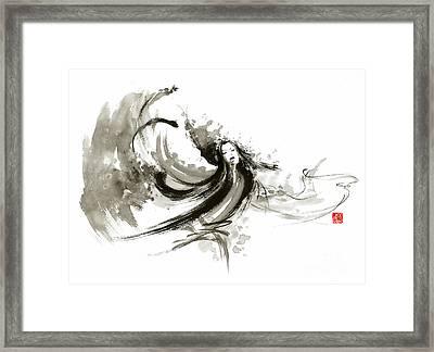 Geisha Dancer Dancing Girl Japanese Woman Original Painting Framed Print by Mariusz Szmerdt