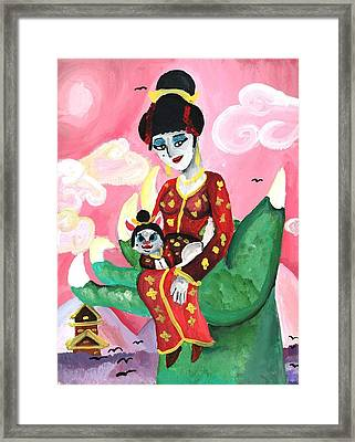 Geisha Girl And Kitty Framed Print by Artists With Autism Inc