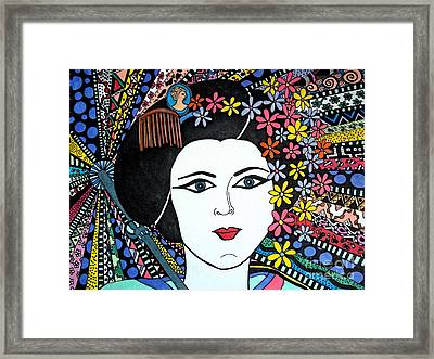 Geisha Girl Colourful Framed Print by Karen Larter