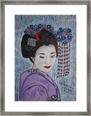 Framed Print featuring the painting Geisha Girl by Kathy Marrs Chandler