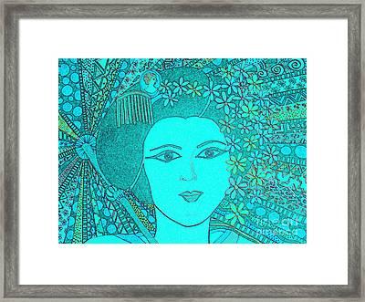 Geisha Girl Landscape Blueprint Framed Print by Karen Larter