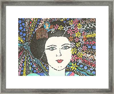 Geisha Girl Mosaic Framed Print by Karen Larter