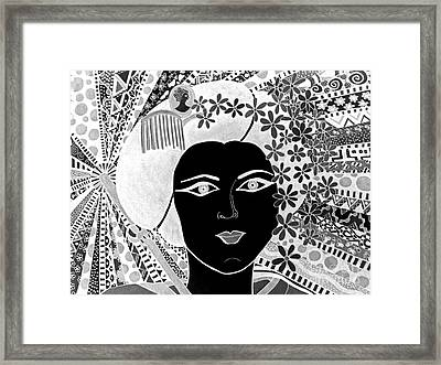 Geisha Girl Negative Framed Print by Karen Larter