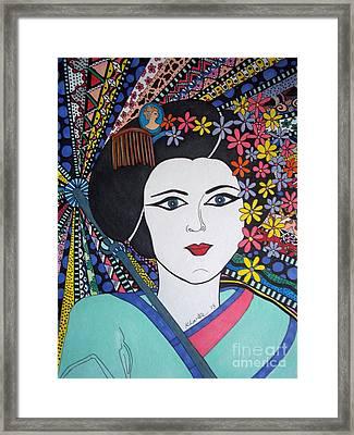 Geisha Girl Portrait Framed Print by Karen Larter