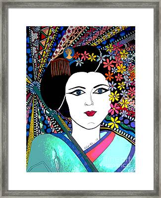 Geisha Girl Portrait Poster  Framed Print by Karen Larter