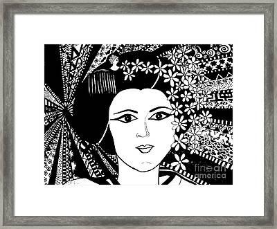Geisha Girl Screen Print Framed Print by Karen Larter