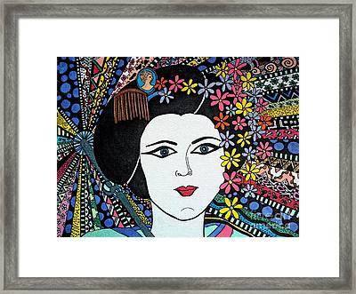 Geisha Girl Stained Glass Framed Print by Karen Larter