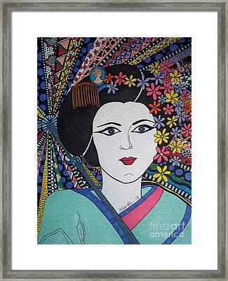 Geisha Girl Stained Glass Portrait Framed Print by Karen Larter