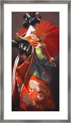 Geisha Girl With Red Umbrella Framed Print by Takayuki Harada