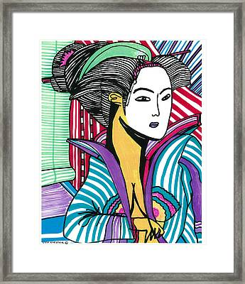 Geisha Green And Blue Framed Print by Don Koester