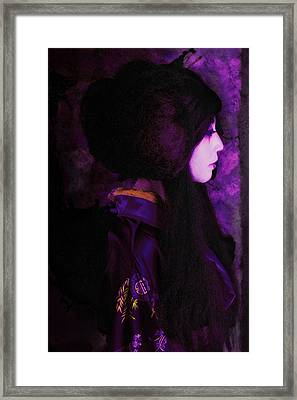 Geisha In Purple And Pink Framed Print