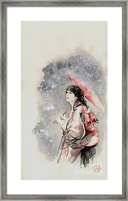 Geisha In Snow. Japanese Woman Portait. Framed Print
