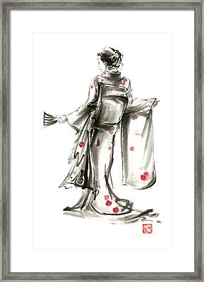 Geisha Japanese Woman Sumi-e Original Painting Art Print Framed Print by Mariusz Szmerdt