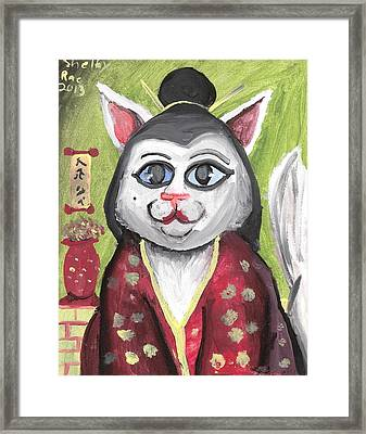Geisha Kitty Framed Print by Artists With Autism Inc