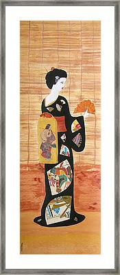 Framed Print featuring the painting Geisha by Mini Arora