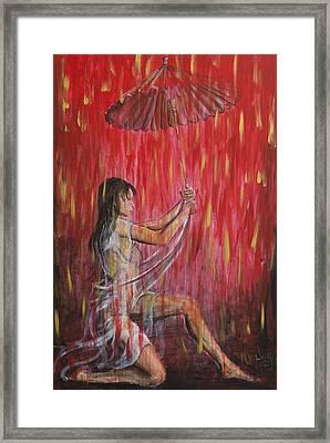 Geisha Rain Warrior Framed Print by Nik Helbig