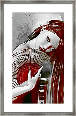 Geisha Red Framed Print by Shanina Conway