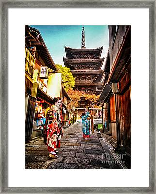 Geisha Temple Framed Print by John Swartz