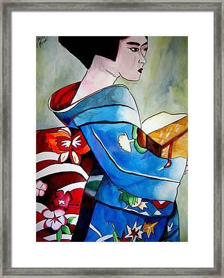 Geisha With Blue Kimono Framed Print by Sacha Grossel