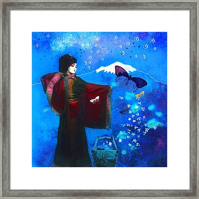 Geisha With Butterflies Framed Print by Jeff Burgess