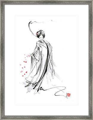 Geisha With Cherry Blossom Flower Framed Print
