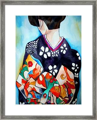 Geisha With Colourful Obi Framed Print by Sacha Grossel