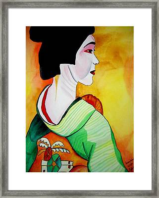 Geisha With Green Kimono Framed Print by Sacha Grossel