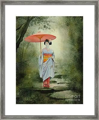 Geisha With Umbrella Framed Print by Robert Hooper