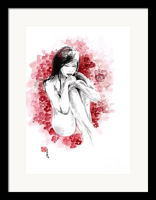 Cherry Blossoms Drawings Framed Prints