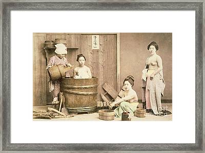 Geishas Bathing Framed Print